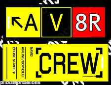 "Crew Luggage Tag -- AV8R ""Aviator"" Taxiway Sign Pack of 10 Airline Crew Bag Tags"