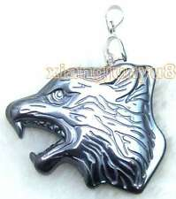 SALE Big 35mm Wolf head shape Black natural hematite Power Pendant-pen184