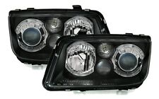 BLACK ANGEL EYE HEADLIGHTS HEADLAMPS FOR VW BORA 10/1998-7/2005  V2