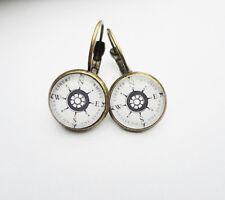 Ohrringe Ohrschmuck Ohrhänger Kompass Maritim Glas
