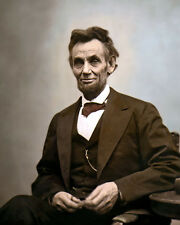 "ABRAHAM LINCOLN 16th US PRESIDENT 1865 CIVIL WAR 8x10"" HAND COLOR TINTED PHOTO"