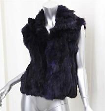ADRIENNE LANDAU Womens Purple Genuine Rabbit Fur Sleeveless Jacket Coat Vest M