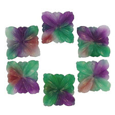 40MM CANDY JADE PURPLE GREEN WHITE SQUARE FLOWERS