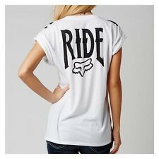 $32 Fox Racing Women's Lock Down Crew Roll T-Shirt In White Size M