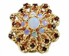 Women's Boutique Opal & Garnet 1.03 ct Cocktail Ring in 18k Solid Yellow Gold