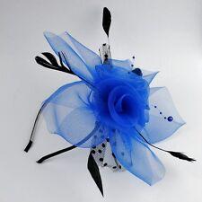 Haarreif Fascinator Schleier Perlen Federn Hochzeit Haarschmuck Blume BLAU FP