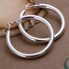 925 Stamped Sterling Silver Filled SF Large Hoop Earrings E-A484