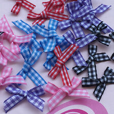 20/100/500pc Gingham Ribbon Bow Flowers Appliques Doll Bulk Lots Wedding Decora