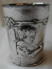 ART NOUVEAU WMF GERMANY CHILD PEWTER HANDLED CUP-- DEDICATED TO CYRIL 5 /6/ 1914