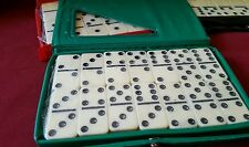 DOUBLE SIX DOMINOES DOMINO SET OF 28 IVORY TILES NEW CASE GREEN BLACK RED