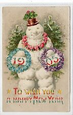 A HAPPY NEW YEAR 1905: Cut out hold to light snowman postcard (C18819)
