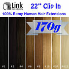 "22"" Premium Clip In Remy Human Hair Extension (Thick) Black Brown Blonde"