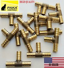 1 PC - 3/8 HOSE BARB TEE Brass Pipe 3 WAY T Fitting Thread Gas Fuel Water Air
