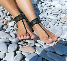 Crochet Barefoot Sandals-Black Diamond-Handmade-Foot Jewelry-One size-Beach