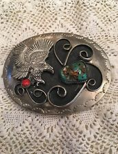 Vintage Native American Silver Belt Buckle With Raised Turquoise & Coral & Eagle