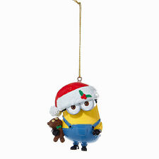 KURT ADLER DESPICABLE ME MINION DAVE w/TEDDY BEAR & SANTA HAT CHRISTMAS ORNAMENT