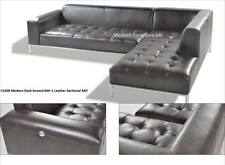 Modern contemporary Leather Sectional in Dark brown chaise + sofa 2 PC set #1008
