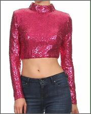Women's Pink Magenta Long Sleeve Sequins Turtle Neck Cropped Top Shirt L