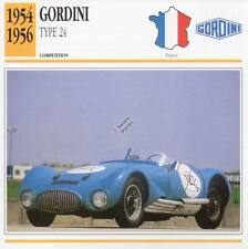 1954-1956 GORDINI Type 24 Racing Classic Car Photo/Info Maxi Card