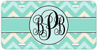 Personalized Monogrammed Chevron Turquoise License Plate Custom Car Tag L428