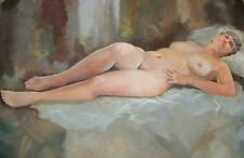 GENE V DOUGHERTY VOLUPTUOUS NUDE OIL ON CANVAS ART SENIOR LADY SOMEBODYs GRANDMA