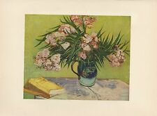 "1952 full Color Art Plate "" Oleanders "" by Van Gogh Lithograph Litho"