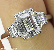GIA 2.54CT ESTATE VINTAGE EMERALD CUT DIAMOND 3 STONE ENGAGEMENT WEDDING RING