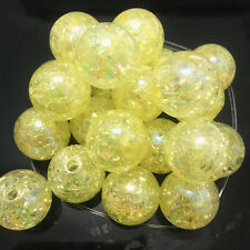 10pcs yellow Crackle Glass Round 16mm Beads Jewelry Findings Craft Bead Supply !