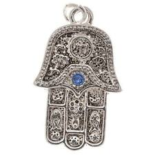 Silver Plated Charm Hamsa Hand W/Sapphire Crystals (1)