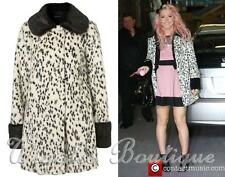 Topshop Dalmatian Spotted Faux Fur Peter Pan Collar Swing Coat - UK8/EU36/US4