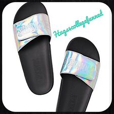 Victorias Secret VS PINK IRIDESCENT SILVER Crossover Slides Sandals LARGE 9/10
