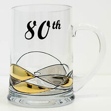 Premium Handmade 80th Birthday Beer Mug Tankard 500ml Glass Personalised Gift