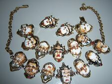 VTG GODS OF GOOD FORTUNE RED RHINESTONE NECKLACE BRACELET EARRING SET