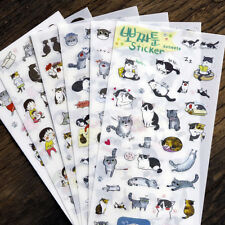 6 Sheets Portable Cute Cat Album Diary Calendar Sticker Label Scrapbooking Gift