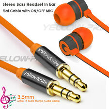 1M Meter OFC 3.5mm Stereo AUX MP3 Cable+Super Bass Headset Earbuds Mic ON/OFF