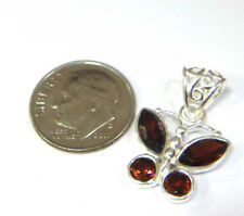 small dark red faceted GARNET and sterling silver handmade BUTTERFLY PENDANT NEW