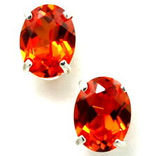 • SE002, 8x6mm Created Padparadsha Sapphire, Sterling Silver Post Earrings -