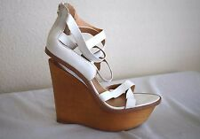 L.A.M.B Gwen Stefani MIDORI White strap strappy wood platform wedge heels 10 M