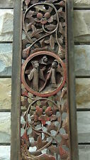 ANTIQUE 18c CHINESE WOOD CARVED TEMPLE PIERCED GILT PLAQUE WITH COURT SCENE #2