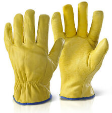 Fleece Lined Leather Lorry Drivers Work Gloves Safety Quality Size XL