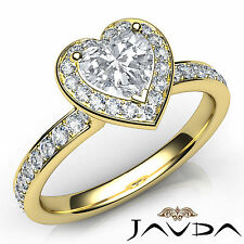 Heart Diamond Elegant Engagement GIA F VS2 18k Yellow Gold Halo Pave Ring 1.16Ct