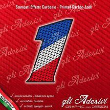Adesivo Stickers NUMERO 1 moto auto cross gara Carbon Effect Blu White Red 5 cm