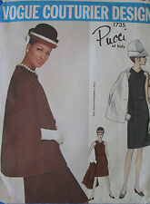 Vintage 60's VOGUE COUTURIER 1735 PUCCI-DRESS & COAT/CAPE Sewing Pattern