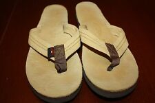 EUC 9.5 - 10 Rainbow Yellow Leather Flip Flop Sandals Classic with arch support