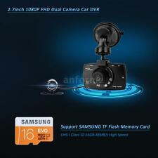 "2.7"" 1080P LCD Car DVR Video Recorder 2Camera SAMSUNG 16GB MicroSD TF Card K9H2"