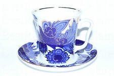 Russian Imperial Lomonosov Porcelain Mug and saucer Blue Birds 22K Gold Russia