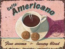 Americano Cafe Coffee Drink Retro Kitchen Bar Shabby Chic, Large Metal/Tin Sign