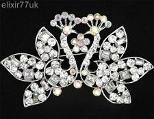 """NEW LARGE 3.2"""" SILVER DOUBLE PEACOCK FLOWER BROOCH DIAMANTE CRYSTAL PARTY BROACH"""
