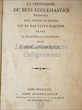 DIRITTO VATICANO: La Restituzione dei Beni Ecclesiastici 1824 Bourliè Roma