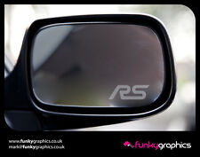 FOCUS RS MIRROR DECALS STICKERS GRAPHICS x 3 IN SILVER ETCH VINYL